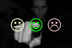 pulsante verde felice cliente gestione